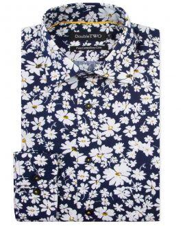 Navy Flower Print Formal Shirt