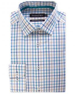 Blue Multi Bold Check 100% Cotton Formal Shirt