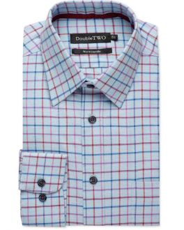 Denim Blue Tattersall Check Warm Handle Shirt