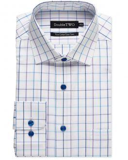 Aqua Window Check Formal Shirt
