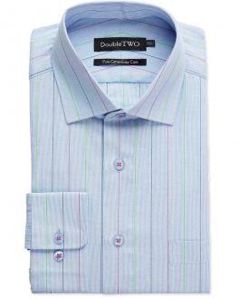 Blue End on End Stripe Formal Shirt