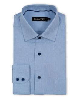 Blue and White Diamond Weave Formal Shirt