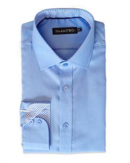 Blue Contrast Circle Trim Formal Shirt
