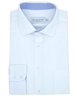 White Diamond Weave Long Sleeve Formal Shirt