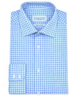 Pale Blue Checkered Long Sleeve Formal Shirt