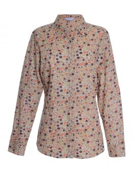 Orange Floral Semi Fitted Blouse