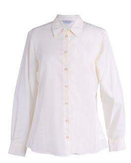 Winter White Fitted Casual Blouse