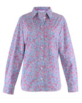 Pink Floral Print Semi Fitted Casual Blouse