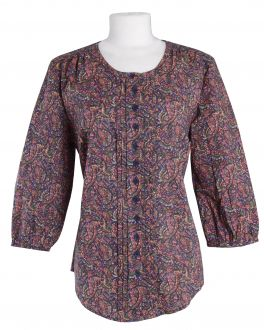 Navy Floral Classic Fit Casual Tunic