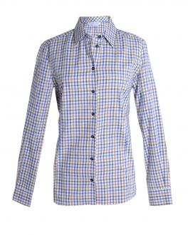 Beige Check Fitted Blouse