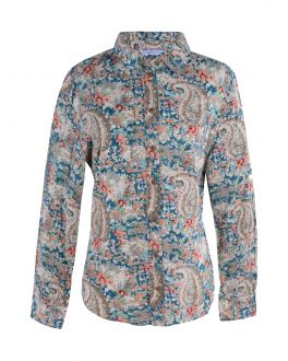 Green Paisley Classic Fit Blouse