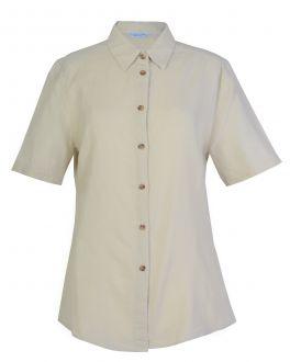 Natural Linen Blend Short Sleeve Blouse
