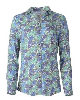 Aqua Floral Full Length Roll up Sleeve Blouse
