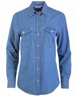 Blue Stone Washed Denim Semi Fit Women's Shirt