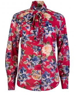 Red Floral Tie Neck Classic Fit Women's Shirt