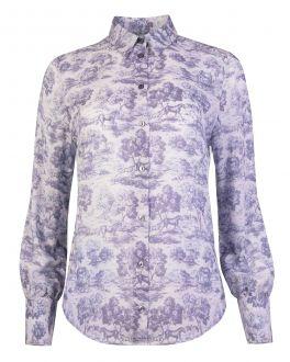 Grey Horse Print Classic Fit Women's Shirt