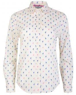 Cream and Pink Flamingo Print Women's Shirt