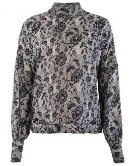 Black Lace Print Cowl Neck Women's Blouse