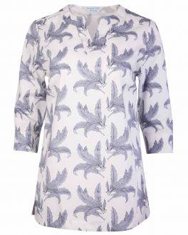 Grey and White Fern Print women's Tunic Top