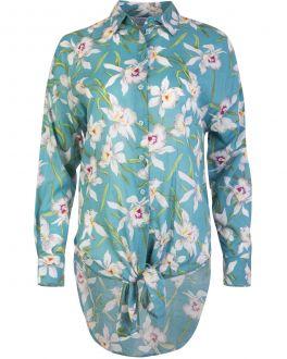 Turquoise Flower Print Elongated Women's Shirt