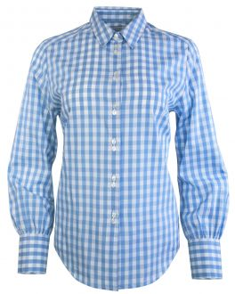 Sky Blue Clean Gingham Semi Fitted Women's Shirt