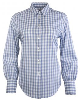 Silver Clean Gingham Semi Fitted Women's Shirt