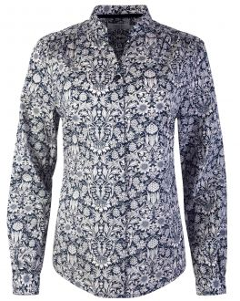 Navy Floral Tapestry Print Women's Shirt
