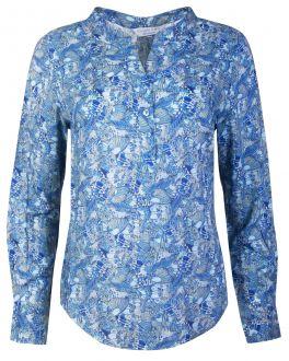 Blue Butterfly Open Neck Women's Shirt