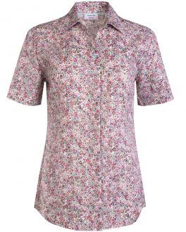 Pink Floral Open Collar Short Sleeve Women's Shirt
