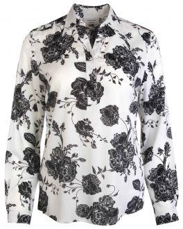 White and Black Bloom Print Women's Shirt