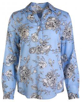 Sky Blue Bloom Print Women's Shirt