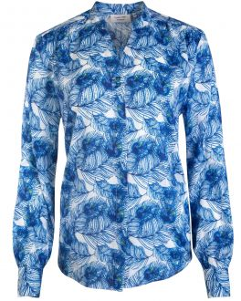 Blue Feather Print Women's Shirt