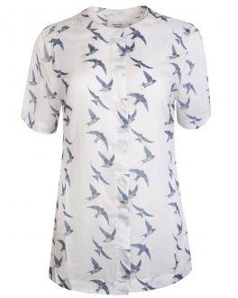 Grey Flying Swallows Print Short Sleeve Women's Top