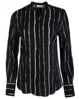 Black Irregular Stripe Women's Shirt