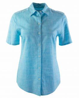 Sea Blue Short Sleeve Women's Shirt