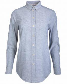 Blue Washed Cotton Long Sleeve Women's Shirt