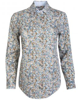 Blue and Green Floral Women's Shirt