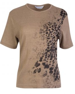 Double TWO Woman Brown Animal Print Women's T-Shirt