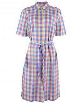 Lemon Multi Check Shirt Dress