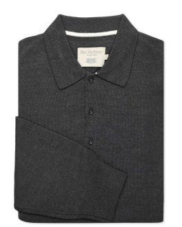 Black Merino Blend Knitted Polo