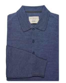 Denim Blue Merino Blend Knitted Polo