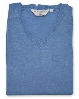 Marl Blue Sleeveless V Neck Sweater