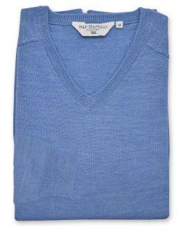 Marl Blue Long Sleeve V Neck Sweater