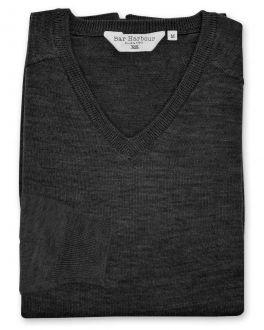Graphite Long Sleeve V-Neck Merino Blend Jumper