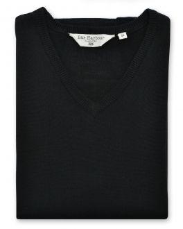 Black Sleeveless V Neck Sweater