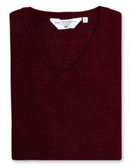 Claret Sleeveless V Neck Sweater