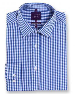 Slim Fit Blue Check Luxury Pure Cotton Non-Iron Shirt