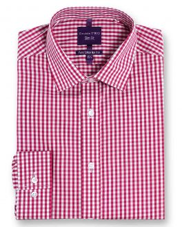 Slim Fit Red Check Luxury Pure Cotton Non-Iron Shirt
