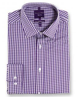Slim Fit Purple Check Luxury Pure Cotton Non-Iron Shirt