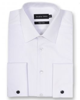 White Marcella Rib Front Dress shirt
